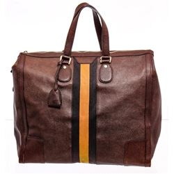 Gucci Brown Grained Leather Large Striped Tote Bag