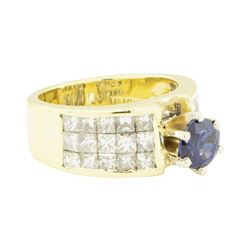 3.68 ctw Round Brilliant Blue Sapphire And Diamond Ring - 18KT Yellow Gold