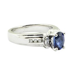 1.28 ctw Oval Brilliant Blue Sapphire And Diamond Ring - Platinum