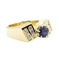 1.69 ctw Blue Sapphire And Diamond Ring - 14KT Yellow Gold