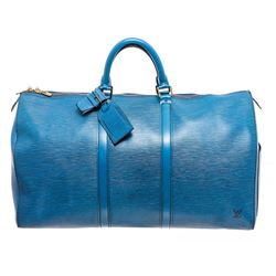 Louis Vuitton Blue Epi Leather Keepall 55 cm Duffle Bag Luggage
