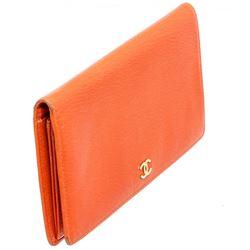 Chanel Orange Lambskin Leather Long Bifold Wallet