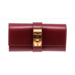 Hermes Red Box Leather Medor 23 Clutch Bag