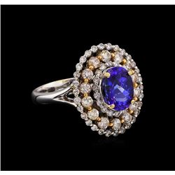 14KT Two-Tone Gold 1.73 ctw Tanzanite and Diamond Ring