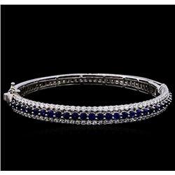 3.40 ctw Sapphire and Diamond Bracelet - 14KT White Gold