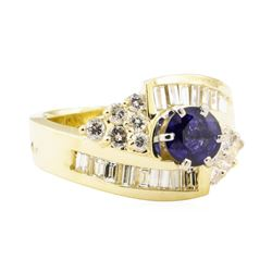 2.06 ctw Blue Sapphire And Diamond Ring - 14KT Yellow Gold