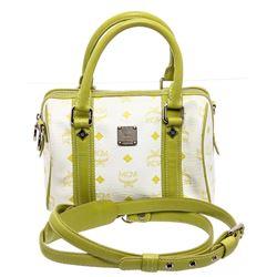 MCM Green & White Visetos Coated Canvas Leather Boston Bag