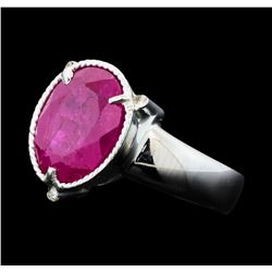 5.85 ctw Ruby And Diamond Ring - 14KT Yellow Gold with Rhodium Plating