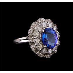14KT White Gold 3.15 ctw Tanzanite and Diamond Ring