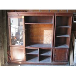 LARGE WALL UNIT CABINET WITH GLASS DOORS