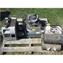 PALLET OF MISC LAWNMOWER, GENERATOR ETC.