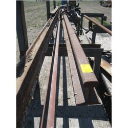 LOT OF MISC STEEL ROD, TRAIN TRACK, CABLE ETC.