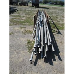METAL RACK WITH MISC IRRIGATION PIPE