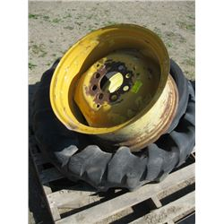 2 LARGE TRACTOR WHEELS & RIMS 17.5 X 24, 1 SMALL TIRE ON RIM