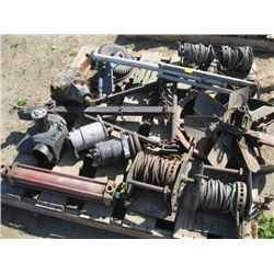 PALLET OF MISC HAND CABLE WINCHES, HITCHES ETC.