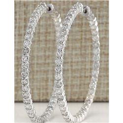 2.68 CTW Natural Diamond Hoop Earrings 14k Solid White Gold