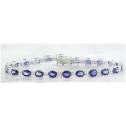 10.67 CTW Sapphire 18K White Gold Diamond Bracelet
