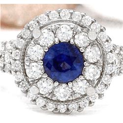 2.10 CTW Natural Sapphire 18K Solid White Gold Diamond Ring
