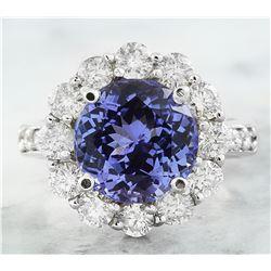 3.64 CTW Tanzanite 14K White Gold Diamond Ring