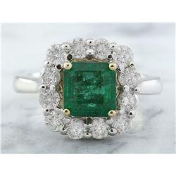 3.15 CTW Emerald 18K White Gold Diamond Ring
