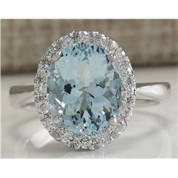 3.79 CTW Natural Aquamarine And Diamond Ring In 18K Solid White Gold