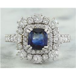 1.80 CTW Sapphire 18K White Gold Diamond Ring