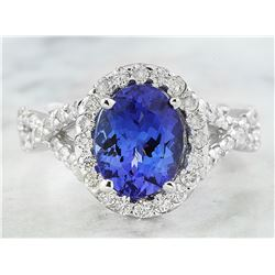 3.23 CTW Tanzanite 18K White Gold Diamond Ring