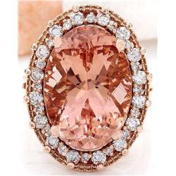 13.15 CTW Natural Morganite 14K Solid Rose Gold Diamond Ring
