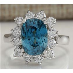 6.07 CTW Natural Blue Zircon And Diamond Ring 18K Solid White Gold