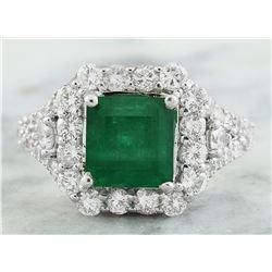 4.50 CTW Emerald 14K White Gold Diamond Ring
