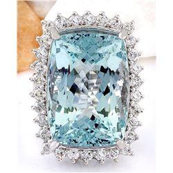29.03 CTW Natural Aquamarine 14K Solid White Gold Diamond Ring
