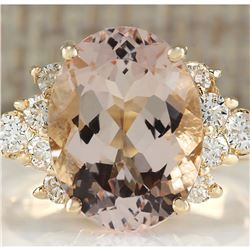 5.00 CTW Natural Morganite And Diamond Ring In 14K Solid Yellow Gold