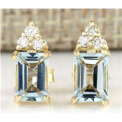 2.65 CTW Natural Aquamarine And Diamond Earrings 18K Solid Yellow Gold