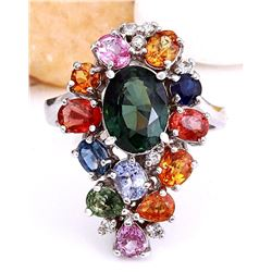 4.89 CTW Natural Sapphire 14K Solid White Gold Diamond Ring