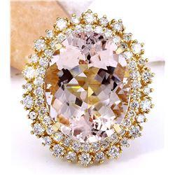 18.42 CTW Natural Morganite 18K Solid Yellow Gold Diamond Ring