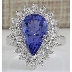 5.73 CTW Natural Blue Tanzanite And Diamond Ring In 14K White Gold