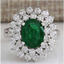 2.75 CTW Natural Emerald And Diamond Ring 14K Solid White Gold