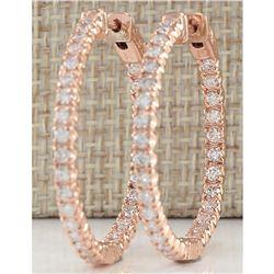 2.10 CTW Natural Diamond Hoop Earrings 18K Solid Rose Gold