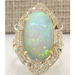 9.05 CTW Natural Opal And Diamond Ring In 18K Yellow Gold