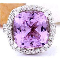 14.37 CTW Natural Kunzite 18K Solid White Gold Diamond Ring