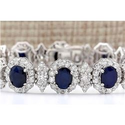 29.45 CTW Natural Sapphire And Diamond Bracelet In 18K Solid White Gold