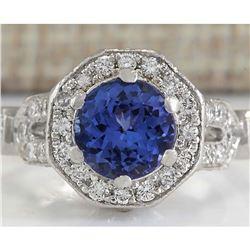 2.50 CTW Natural Blue Tanzanite And Diamond Ring In Platinum