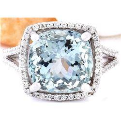 6.75 CTW Natural Aquamarine 14K Solid White Gold Diamond Ring