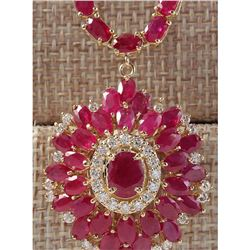 35.62 CTW Natural African Ruby And Diamond Necklace In 14K Yellow Gold
