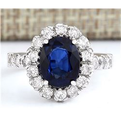 3.35 CTW Natural Blue Sapphire And Diamond Ring In 18K White Gold