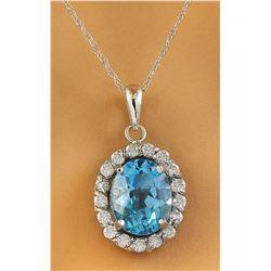 2.00 CTW Topaz 14K White Gold Diamond Necklace
