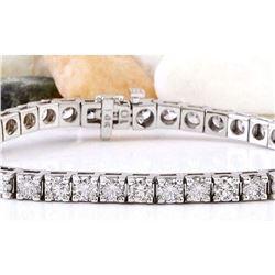 9.89 CTW Natural Diamond 18K Solid White Gold Bracelet