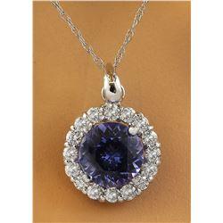 1.82 CTW Tanzanite 14K White Gold Diamond Necklace
