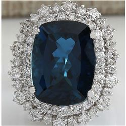 14.02CTW Natural London Blue Topaz And Diamond Ring In14K Solid White Gold