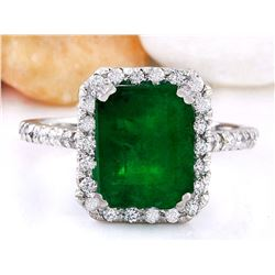 4.18 CTW Natural Emerald 18K Solid White Gold Diamond Ring